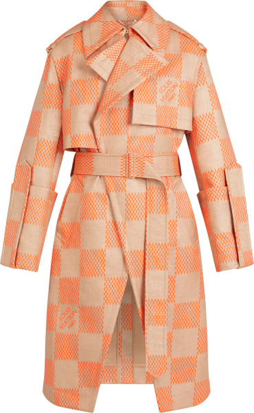 Louis Vuitton Beige Orange Damier Raffia Trench Coat