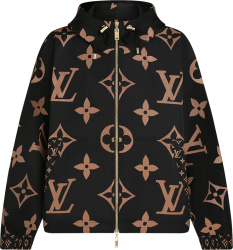 Louis Vuitton Black And Beige Giant Monogram Hooded Windbreaker Jacket 1a934o