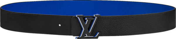 Louis Vuitton Black And Blue Leather Lv Optic Belt