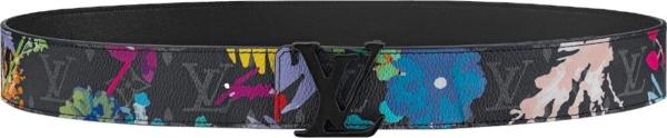 Louis Vuitton Black And Floral 'lv' Buckle Belt