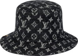 Louis Vuitton Black And Grey Wool Monogram Carry On Bob Hat
