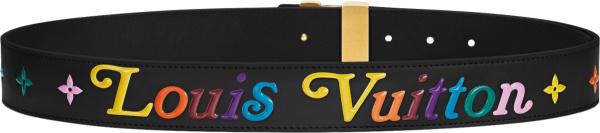 Louis Vuitton Black And Multicolor New Wave Belt