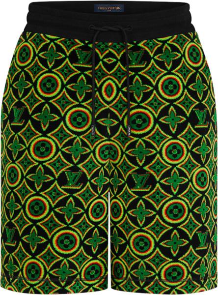 Louis Vuitton Black And Rasta Jamacian Monogram Shorts