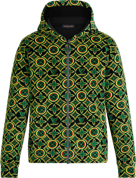 Louis Vuitton Black And Rasta Jamacian Monogram Zip Hoodie