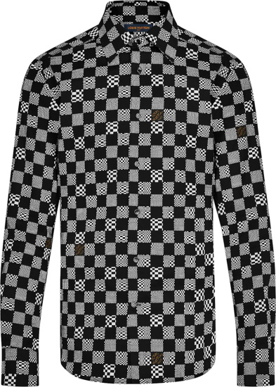 Louis Vuitton Black And White Checkerboard Shirt 1a8pbw