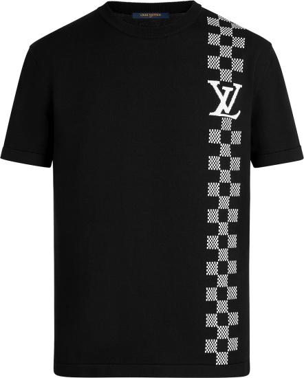 Louis Vuitton Black And White Damier Stripe Jacquard T Shirt 1a8p9x