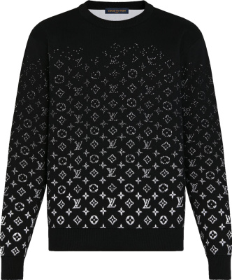 Louis Vuitton Black And White Gradient Monogram Sweater