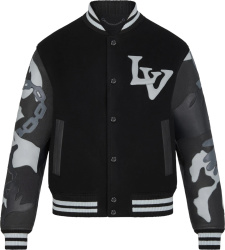 Louis Vuitton Black Chains Camo Varisty Jacket 1a7x1s