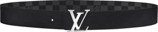 Louis Vuitton Black Damier Leather Lv Initiales Belt M0107t