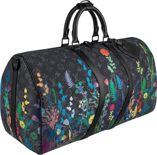 Louis Vuitton Black Eclipse And Foliage Print Keepall