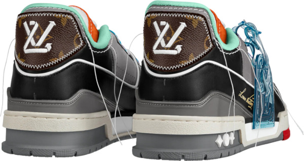 Louis Vuitton Black Grey Orange And Mint Low Top Sneakers