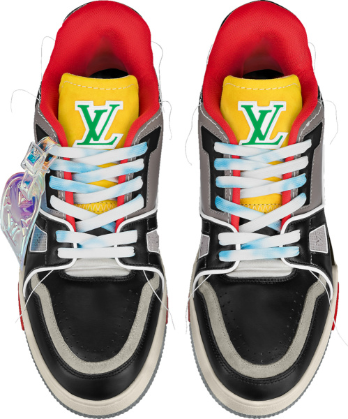 Louis Vuitton Black Grey Red Lv Trainer Sneakers
