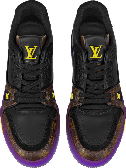 Louis Vuitton Black Leather Brown Monogram Canvas And Purple Sole Lv Trainer Sneakers