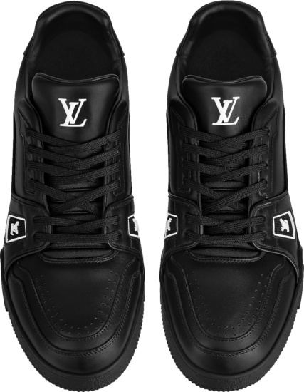 Louis Vuitton Black Leather Low Top Lv Trainer Sneakers