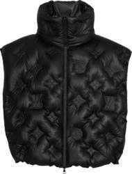 Louis Vuitton Black Leather Monogram Puffer Vest