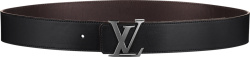 Louis Vuitton Black Leather Rutherium Buckle Lv Initiales Belt M9887q