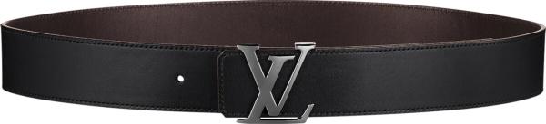 Louis Vuitton Black Leather Rutherium Buckle Lv Initiales Belt M9887q