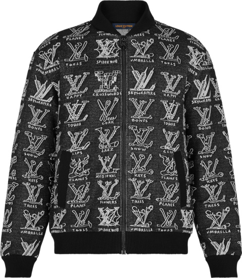 Louis Vuitton Black Lv Cartoons Bomber Jacket