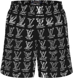 Louis Vuitton Black Lv Cartoons Swim Shorts