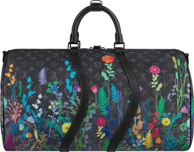 Louis Vuitton Black Monogram And Floral Print Duffle Bag