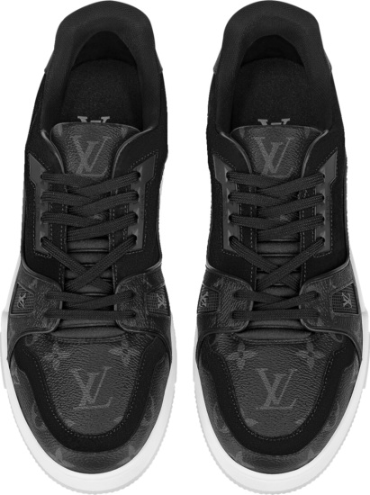 Louis Vuitton Black Monogram And Suede Low Top Sneakers