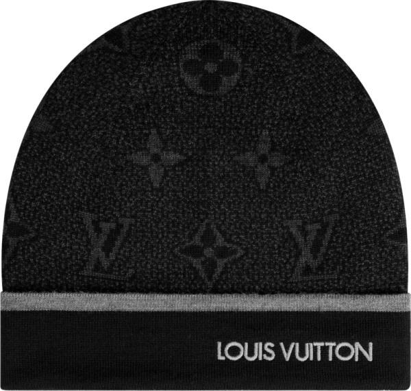 Louis Vuitton Black Monogram 'eclipse' Beanie
