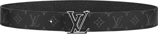 Louis Vuitton Black Monogram Print Lv Initiales Belt