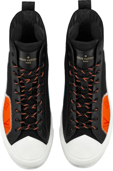 Louis Vuitton Black Orange High Top Sneakers