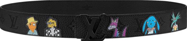 Louis Vuitton Black Puppet Monogram Lv Shape Belt Mp293q
