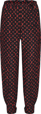 Louis Vuitton Black Red Allover Monogram Joggers