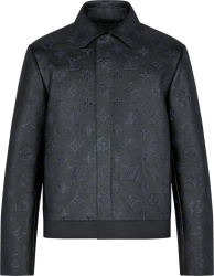 Louis Vuitton Black Shadow Monogram Leather Jacket 1a8i4a