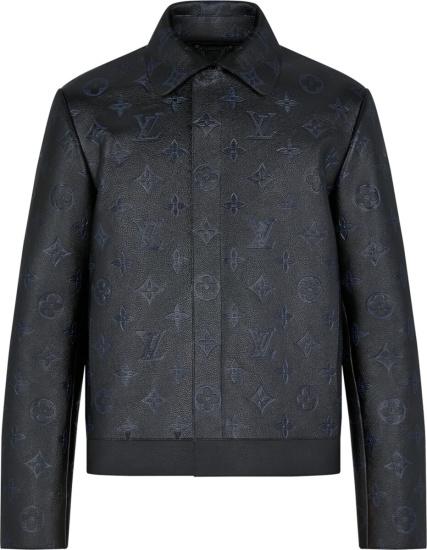 Louis Vuitton Black Shadow Monogram Leather Jacket 1a8i4a