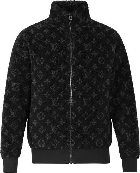 Louis Vuitton Black Sherpa Fleece Monogram Zip Jacket 1a8ed1