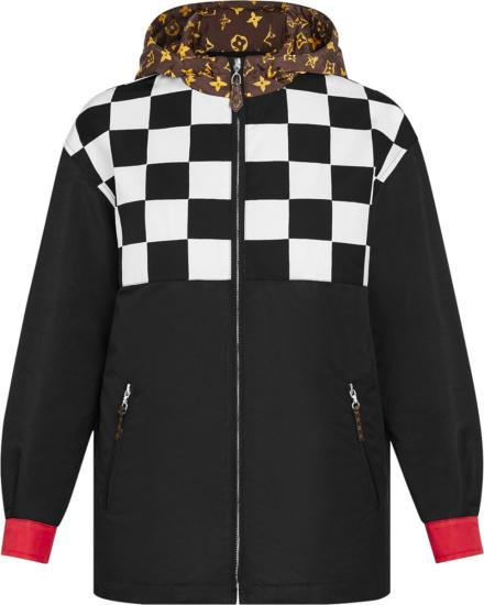 Louis Vuitton Black White Checkerboard Print Reversible Jacket