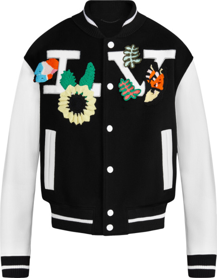Louis Vuitton Black White Crochet Flowers Varsity Jacket