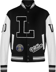 Louis Vuitton Black Wool And White Lether L Patch Varsity Jacket