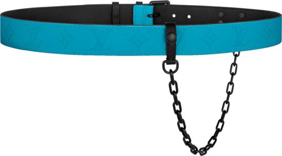 Louis Vuitton Blue Signature Chain 35mm Belt