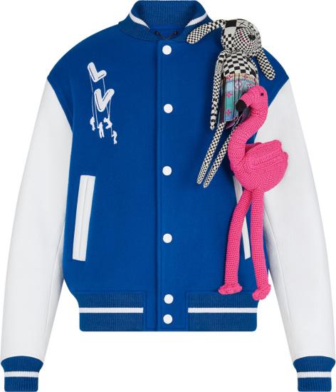 Louis Vuitton Blue And White Puppet Varsity Jacket 1a8p9p