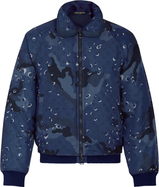 Louis Vuitton Blue Camouflage Bomber Jacket