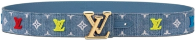Louis Vuitton Blue Denim Belt With Red And Yellow Logo Patches