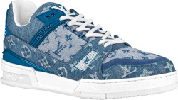 Blue Denim 'LV Trainer' Sneakers