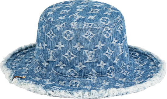 Louis Vuitton Blue Denim Monogram Frayed Bob Hat