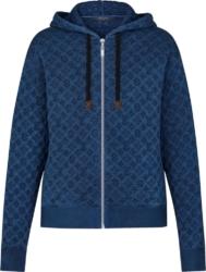 Louis Vuitton Blue Embossed Monogram Zip Up Hoodie