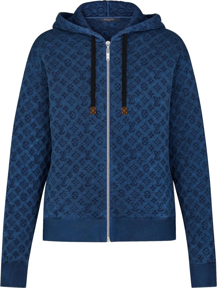 Louis Vuitton Blue Embossed Monogram Zip Up Hoodie