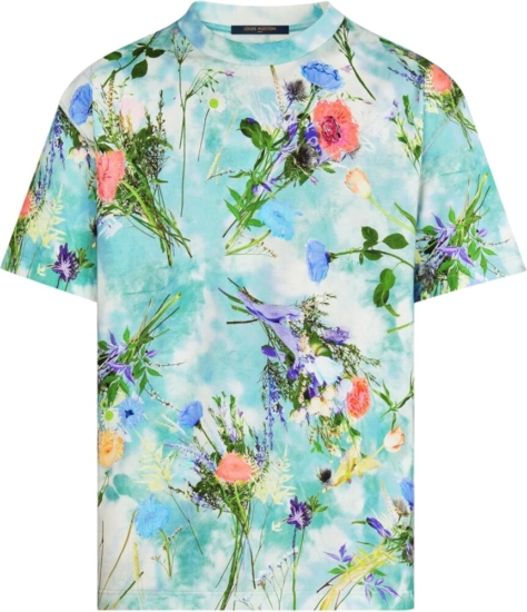 Louis Vuitton Blue Floral Print Embroidered T Shirt