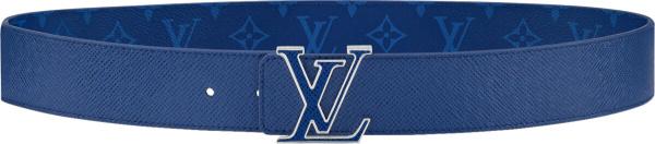 Louis Vuitton Blue Monogram Leather Lv Initiales Belt