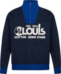 Louis Vuitton Blue Two Tone Quarter Zip
