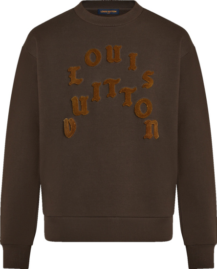 Louis Vuitton Brown Felt Logo Sweatshirt 1a977j