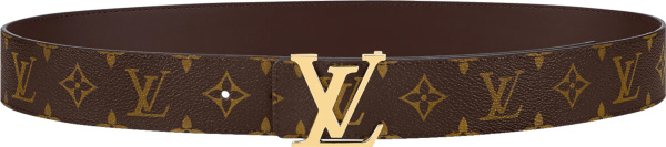 Louis Vuitton Brown Monogram And Gold Lv Initales Belt