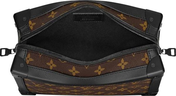 Louis Vuitton Brown Monogram Black Trim Ornage Hardware Soft Trunk Bag